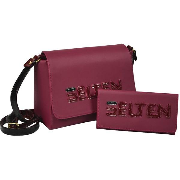 Bolsa + Carteira Feminina Lateral De Tampa Purpura KITT6L