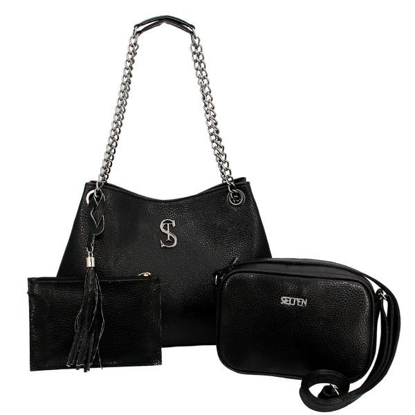 Kit de Bolsa Feminina Com 2 Bolsas e Necessaire Preta - Selten