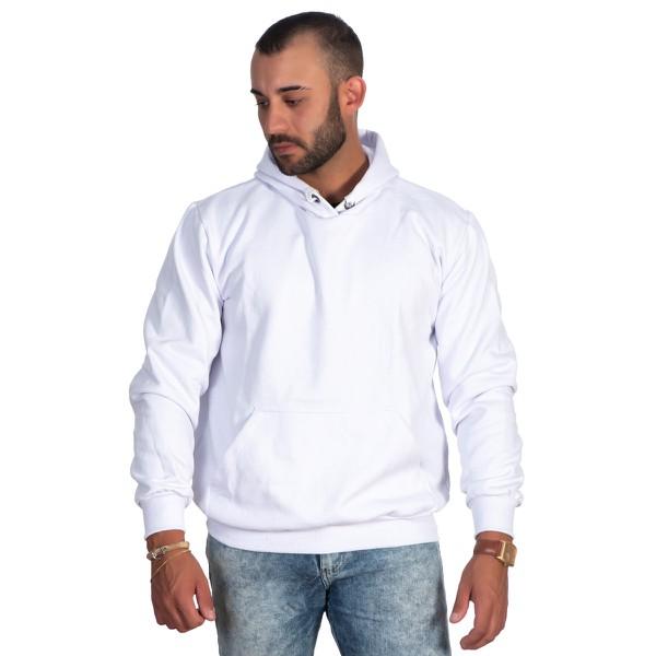 Moletom Masculino Branco Liso com Capuz