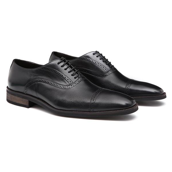 Sapato Masculino Oxford Brogue Preto em Couro Legítimo