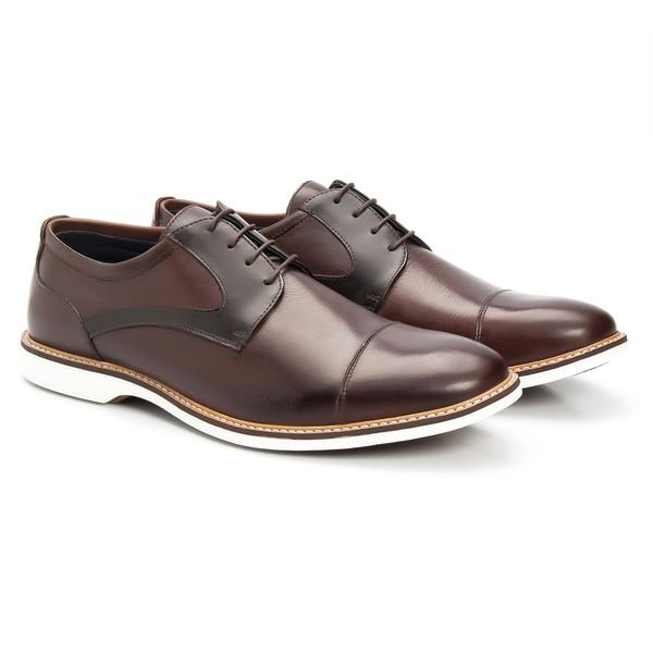 Sapato Masculino Derby Café em Couro Legítimo