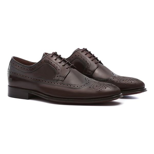 Sapato Masculino Social Derby Brogue Marrom em Couro