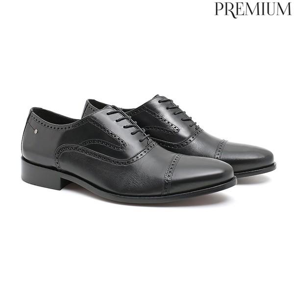 Sapato Masculino Oxford Clássico Preto em Couro Legítimo