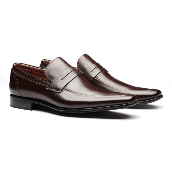 Sapato Masculino Social Loafer Basko Marrom em Couro Legítimo