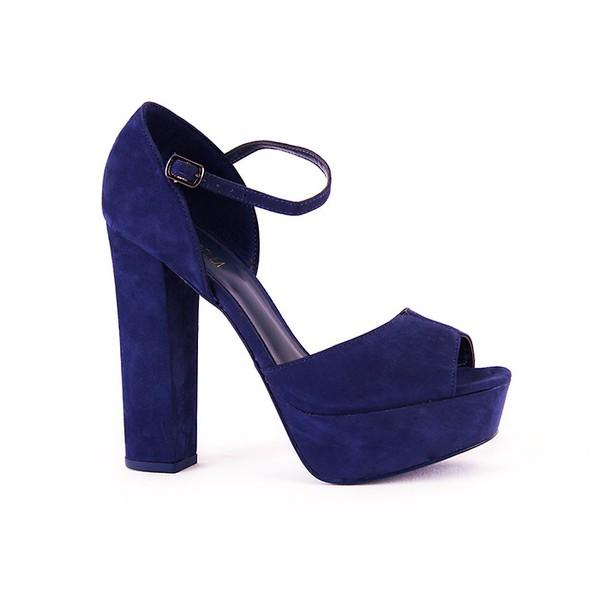 Sandália Salto Alto Em Camurça Azul