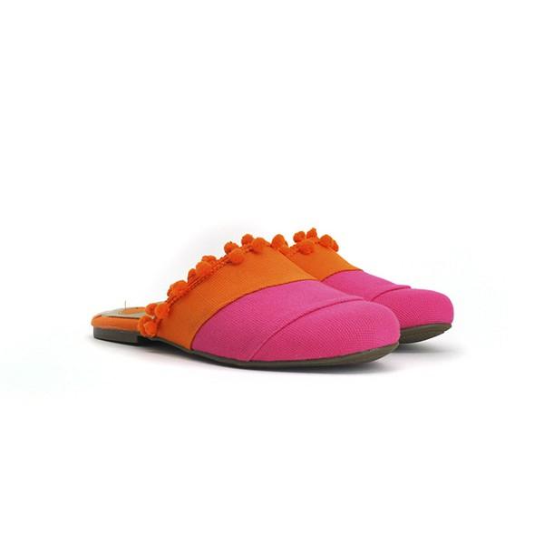 Open Loafer Pink e Laranja Com Pompom