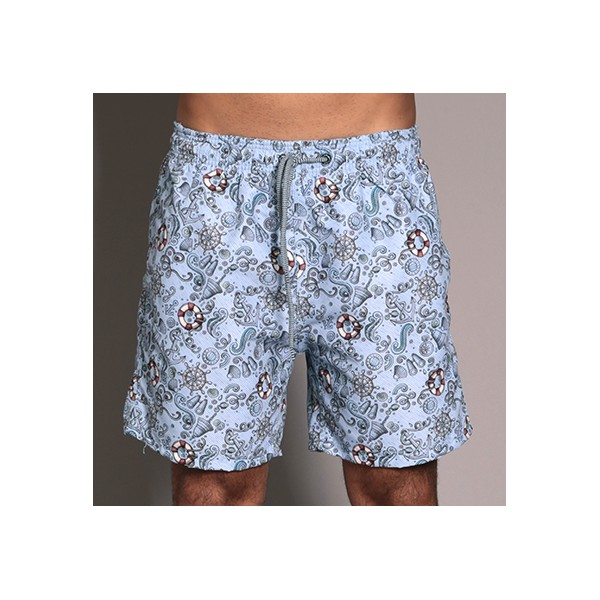 SHORT WEEKEND NAVY GRAPHIC OBJECTS AZUL