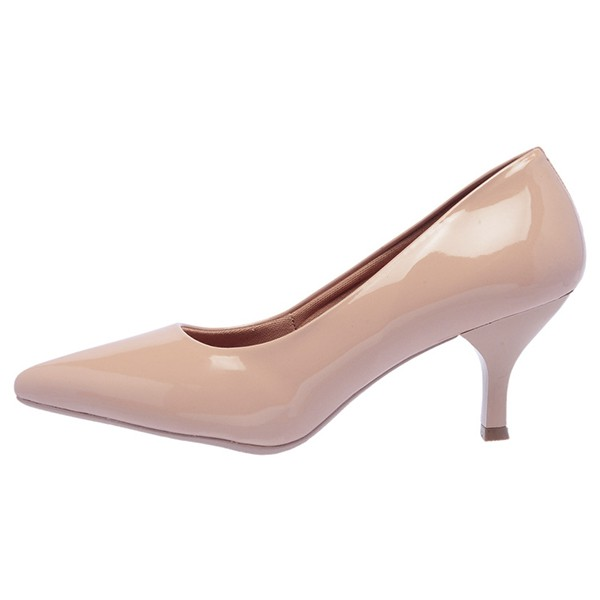 SCARPIN FACTOR FASHION SALTO BAIXO - NUDE