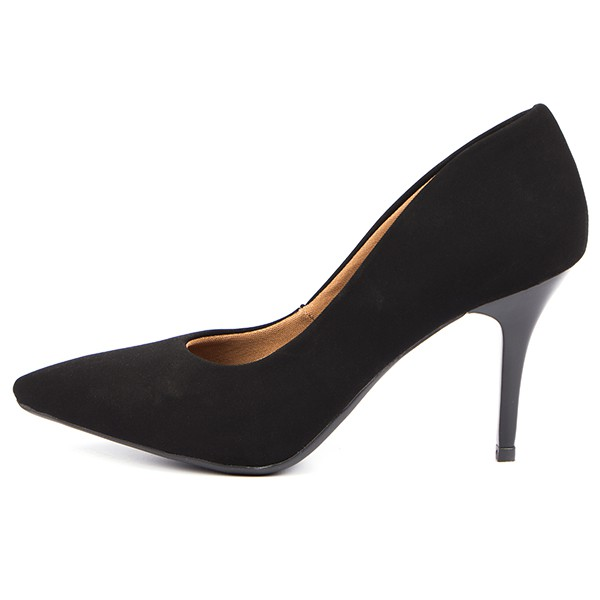 SCARPIN FACTOR FASHION SALTO MEDIO- NOBUCK PRETO