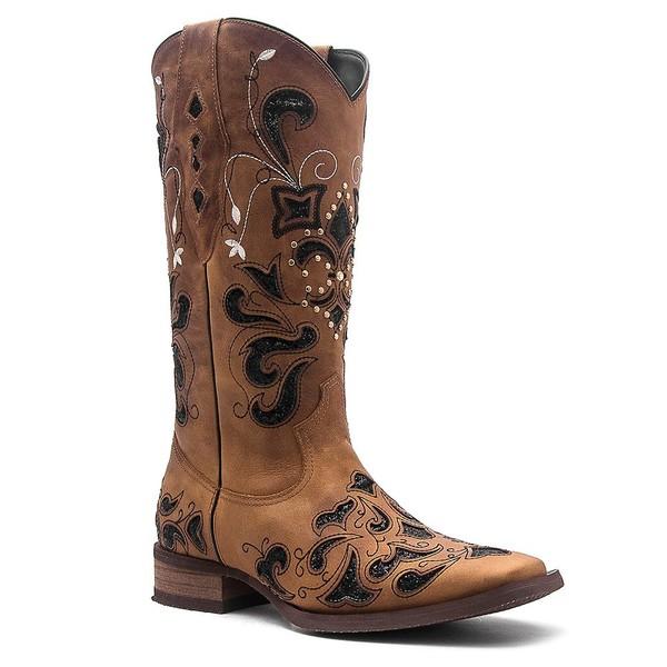 Bota Texana Feminina Vimar 13104 Fossil Caramelo