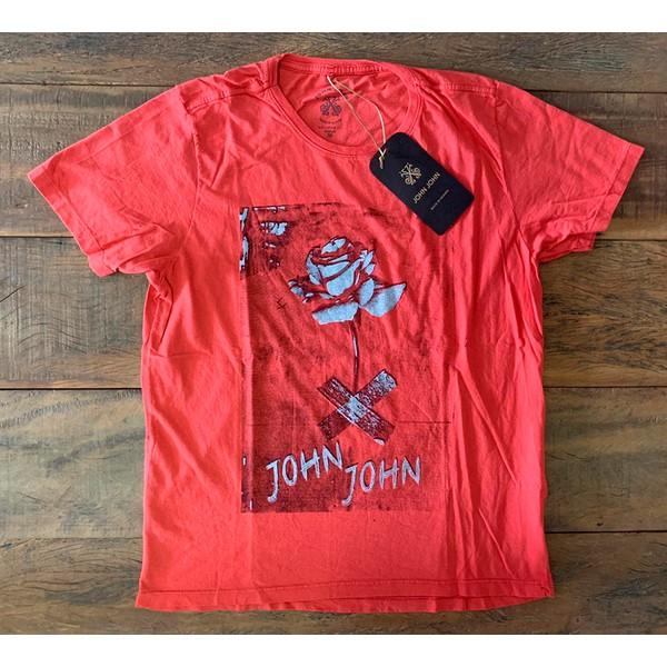 Camiseta JJ Vermelha com Rosa