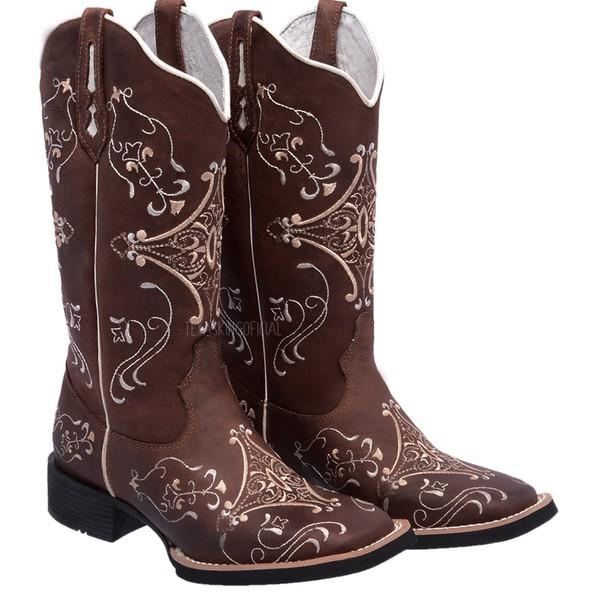 Bota Texana Feminina Hopper em Couro Bordado Bege TexasKing