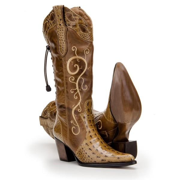 Bota Texana Bico Fino Couro Bovino Réplica Anaconda