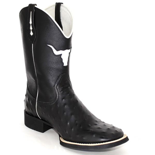 Bota Texana Preta Bull em Couro Bovino Réplica de Avestruz TexasKing