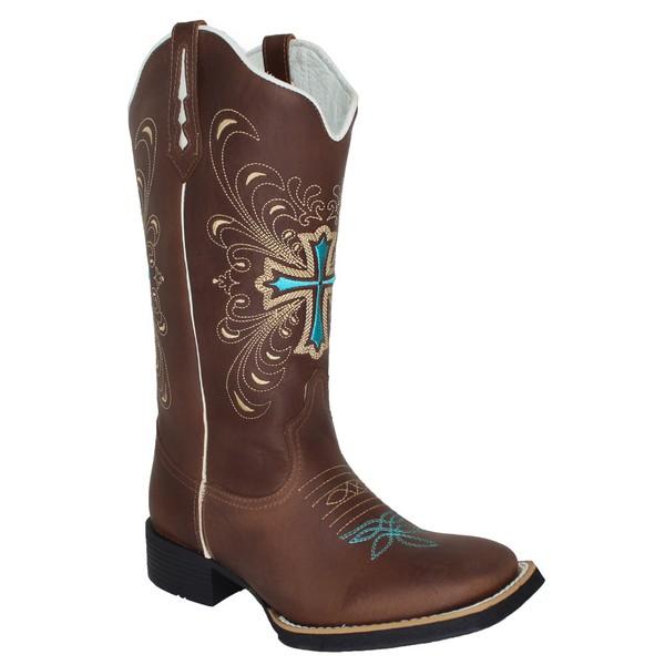 Bota Texana Feminina Hopper Cruz Azul em Couro TexasKing