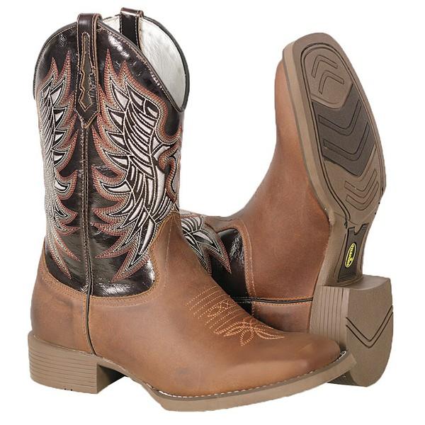 Bota Texana Masculina em Couro Marrom Bordado Bico Quadrado TexasKing