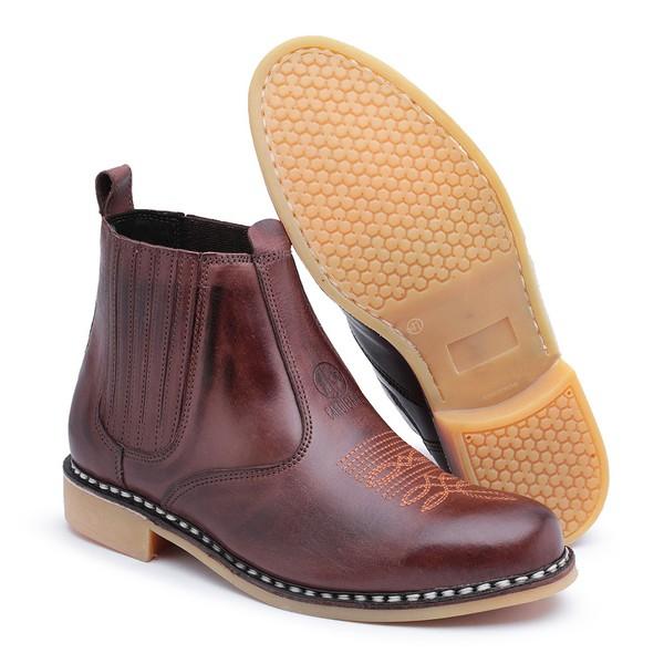 Botina Vira Francesa Top Franca Shoes em Couro Pinhao