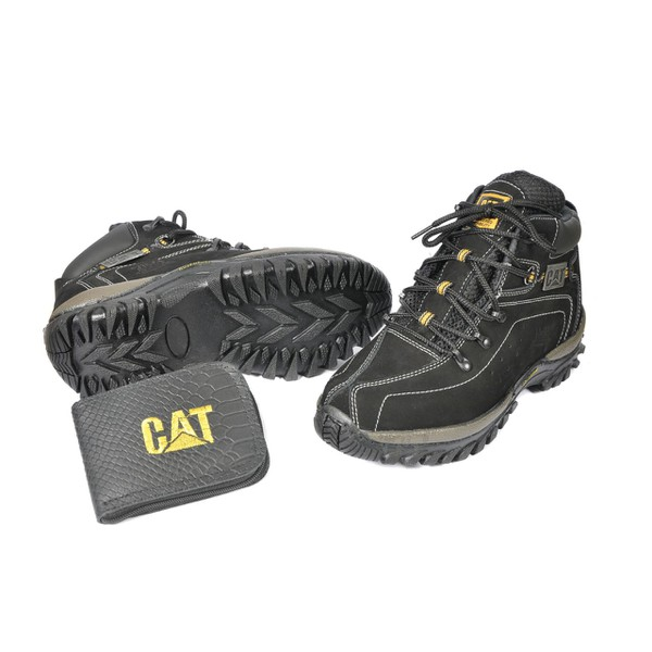 Kit Bota Coturno Caterpillar Preto + Carteira