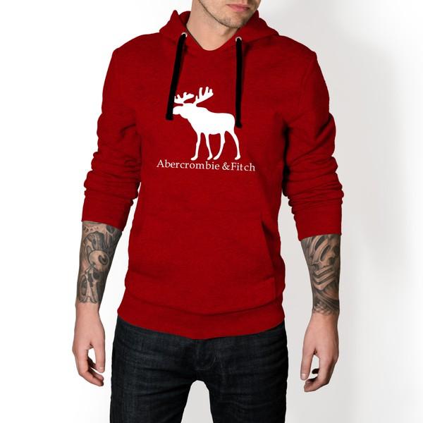 Moletom Masculino Abercrombie Fitch - Vermelho e Branco