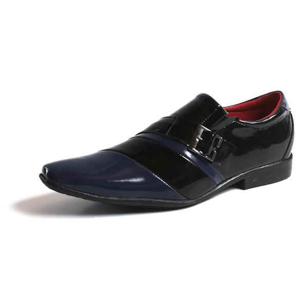 Sapato Social Masculino Top Franca Shoes Verniz Preto Azul