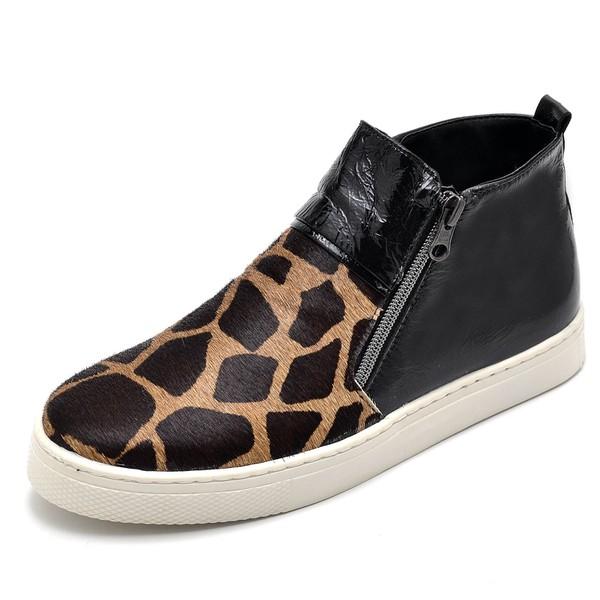 Bota Botinha Feminino Top Franca Shoes Hiate Verniz Preto Onça 3