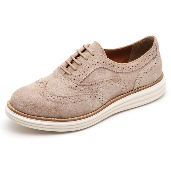 Sapato Social Feminino Top Franca Shoes Oxford Camurça Areia