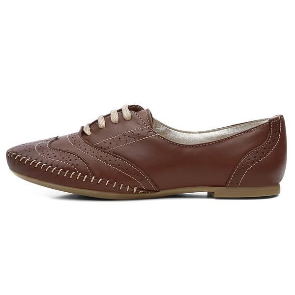 Sapato Social Feminino Oxford Confort Chocolate