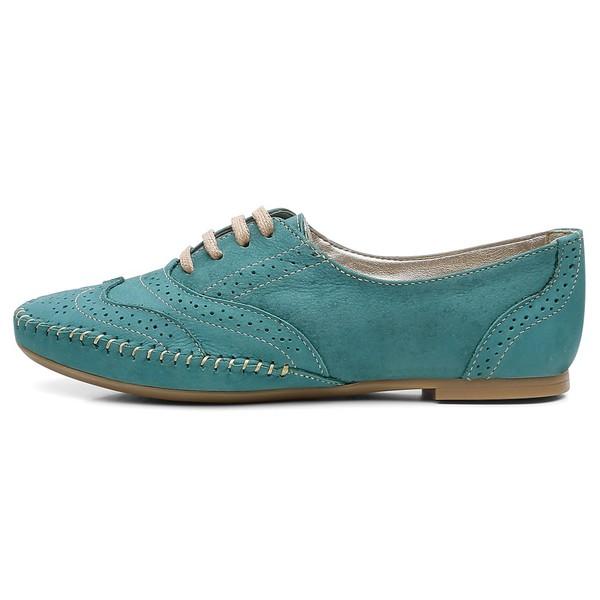 Sapato Social Feminino Oxford Confort Turquesa