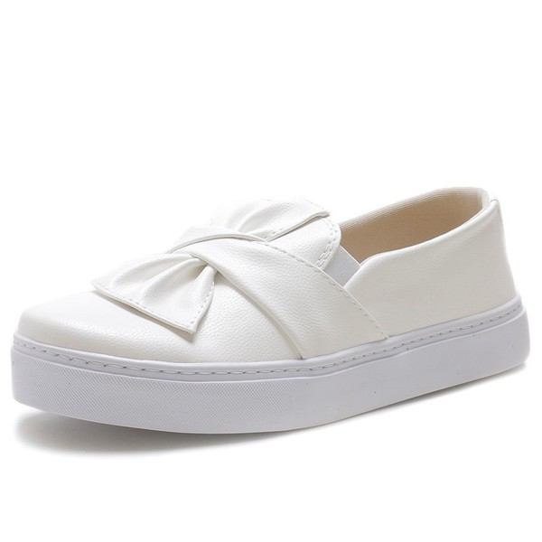 Tenis Sapatenis Feminino Top Franca Shoes Slip On Branco