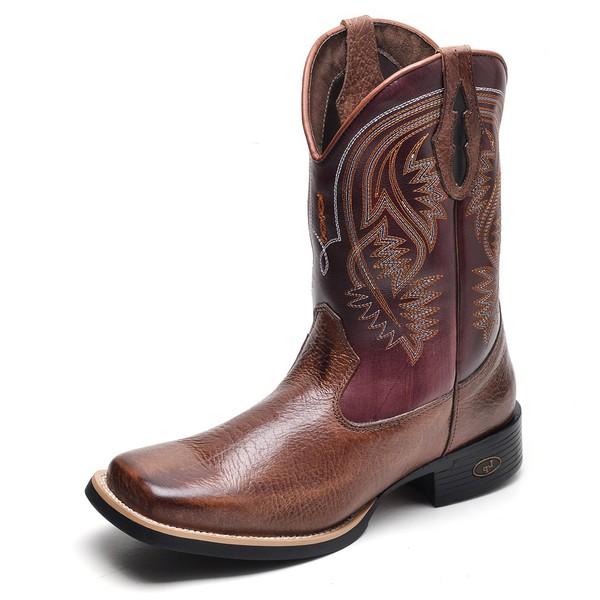 Bota Country Masculina Bico Quadrado Top Franca Shoes Castor