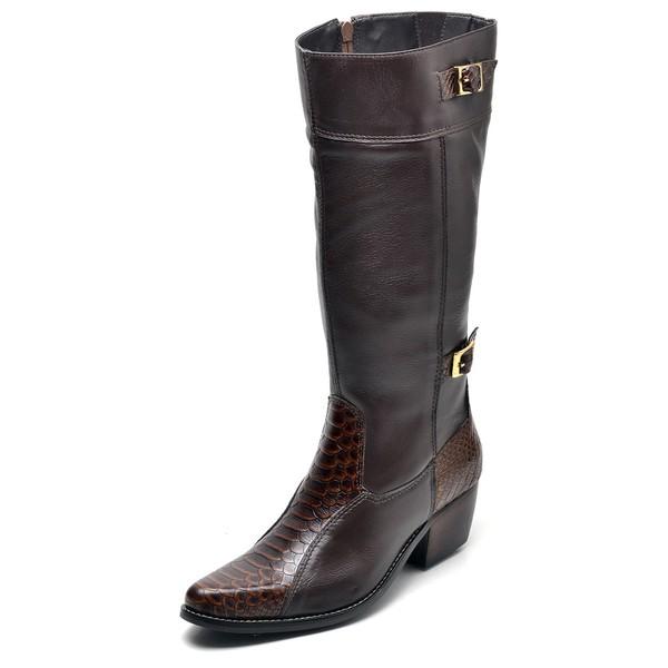 Bota Country Feminina Montaria Top Franca Shoes Anaconda Cafe
