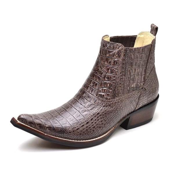 Botina Bota Country Bico Fino Top Franca Shoes Jacare Cafe