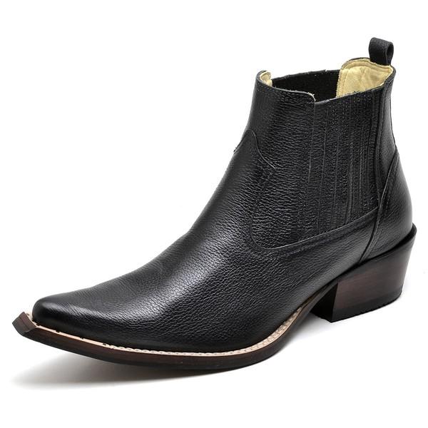 Botina Bota Country Bico Fino Top Franca Shoes Preto