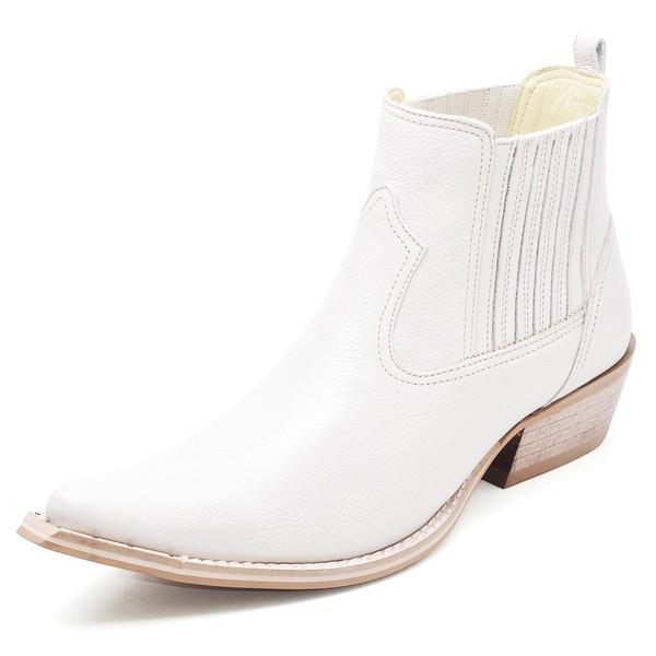 Botina Bota Country Bico Fino Top Franca Shoes Marfim