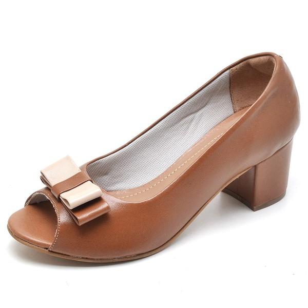 Sapato Social Feminino Peep Toe Work Caramelo