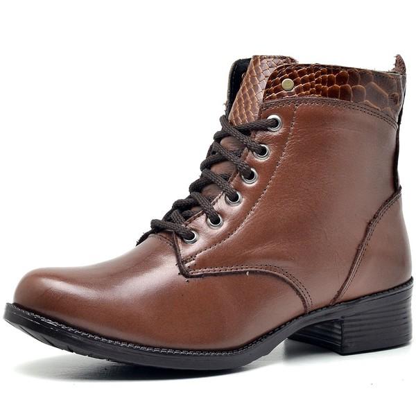 Bota Coturno Country Montaria Feminina Ziper Top Franca Shoes Caramelo