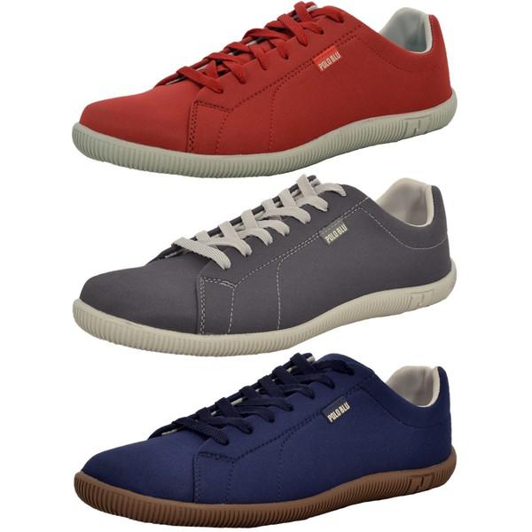 Kit 3 Pares Sapatênis Casual Top Franca Shoes Vermelho / Chumbo / Azul