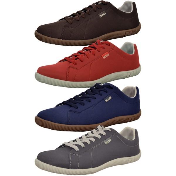Kit 4 Pares Sapatênis Casual Top Franca Shoes Café / Vermelho / Azul / Chumbo