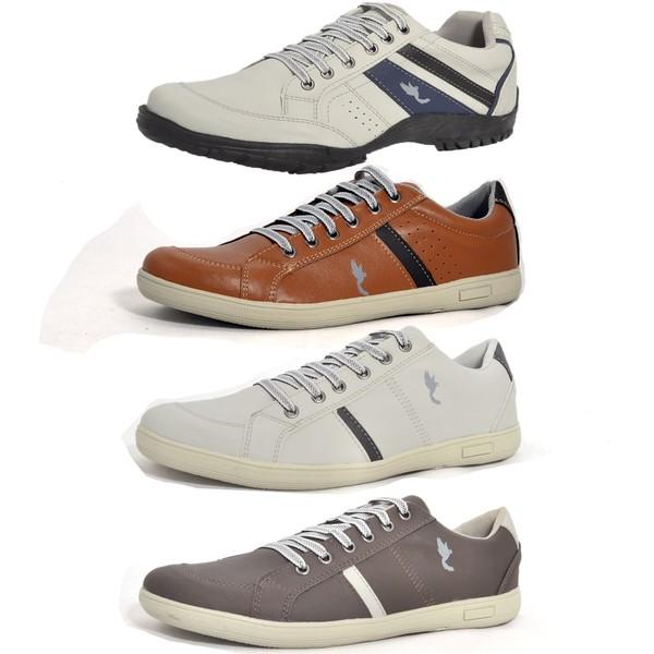 Kit 4 Pares Sapatênis Casual Top Franca Shoes Cinza / Camel / Cinza / Café