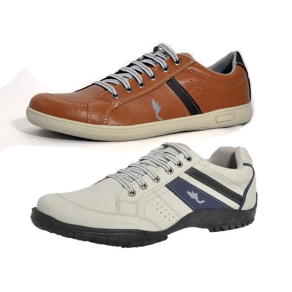 Kit 2 Pares Sapatênis Casual Top Franca Shoes Cinza / Camel