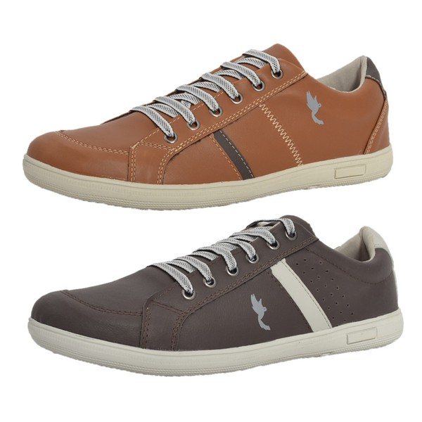 Kit 2 Pares Sapatênis Casual Top Franca Shoes Camel / Café