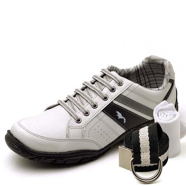 Kit Sapatênis Casual Top Franca Shoes Cinza + Cinto e Meia