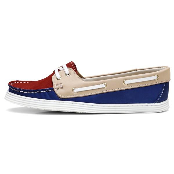 Sider Mocassim Feminino Top Franca Shoes Azul Bordo Areia