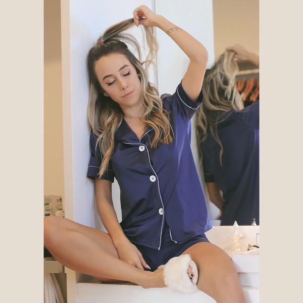 Pijama Homewear Short e Camisa Marinho