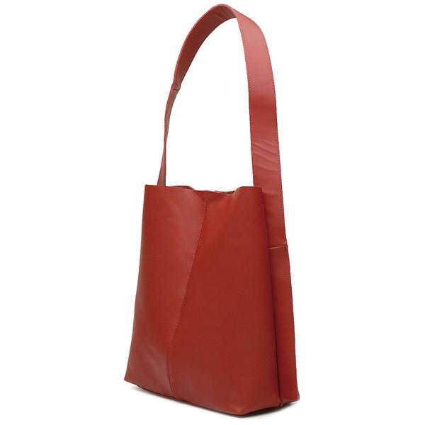 Bolsa de Couro Legítimo Feminina Sacola Alça Larga Asas Vermelho