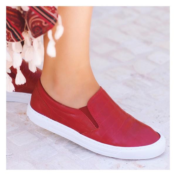 Tênis Slip On Feminino Croco Vermelho- 280-01