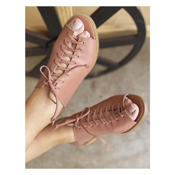 Sapato Peep Toe Baixo Goiaba- 842-13