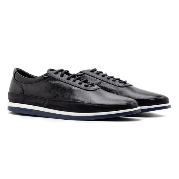 Sneaker Balder Couro Marinho Preto