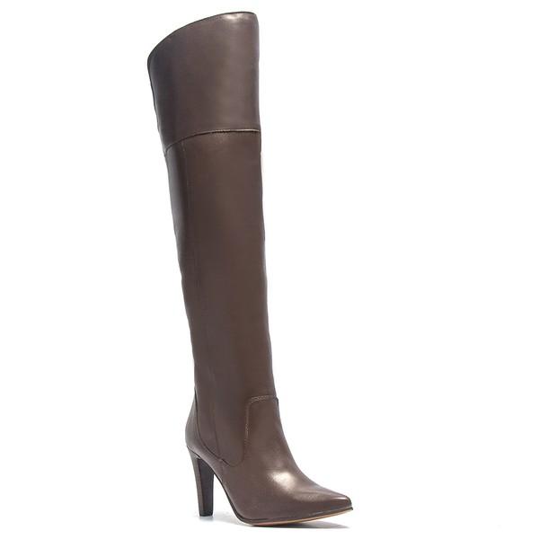 Bota Casual Feminina - Napa Comfort Café - Bico Fino - Over Knee - Solado Colorplac - Pele Nativa - 43009-A-PN