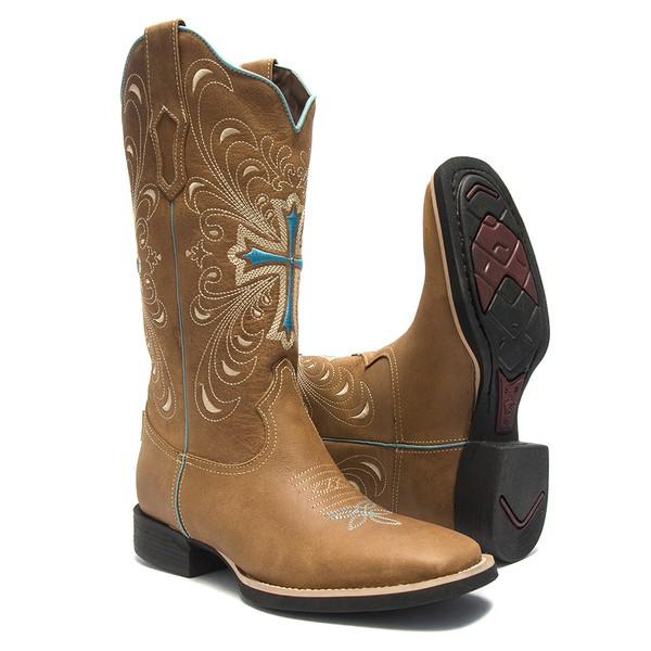 Bota Texana Feminina - Dallas Bambu - Roper - Bico Quadrado - Cano Longo - Solado VTS - Bulls Horse - 53001-A-BU